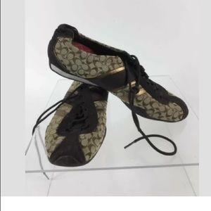 Coach Brown/Tan Logo Jacquard Suede Trim Sneakers
